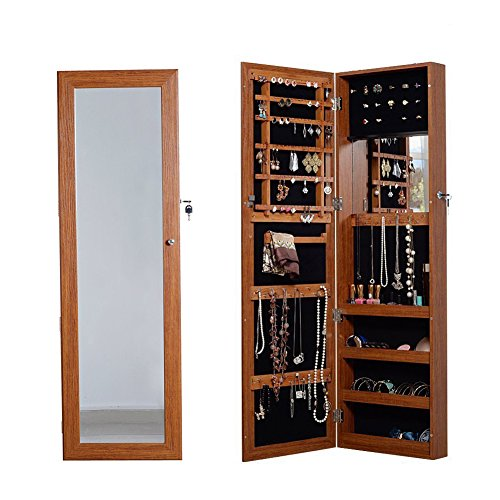 - Organizedlife Oak Mirrored Jewelry Cabinet Case with Lock Wall/Door Mount