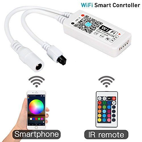 Litake WiFi Wireless LED Smart Controller for 3528 5050 LED Light Strips, Free App Working with Android and iOS System Mobile Phone, Comes with a 24 Keys Remote Control