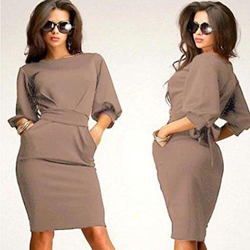 ess, ღ Ninasill ღ Half Sleeve O-Neck Sheath Casual Office Slim Skirt Blouse Tops Tank (XL, Khaki) ()