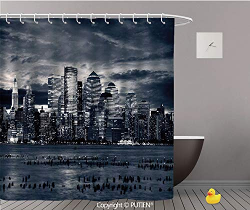 Artistical Shower Curtain [ City,Dramatic View of New York Skyline from Jersey Side Clouds Buildings,Charcoal Grey Black White ] Polyester Bathroom Curtain Design with Golden Hooks,36
