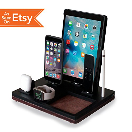 NytStnd TRAY 5 - Charging Station for iPhone, iPad, Apple Watch, AirPods, Apple TV Remote, Apple Pencil Holder (Black Top/Oak Base)