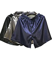 Wantschun Men's Sleepwear Satin Underwear Silk Boxers Shorts Nightwear Pyjamas