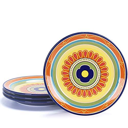 Bico Tunisian Salad Plates Set of 4, Ceramic, 8.75 inch, Microwave & Dishwasher Safe