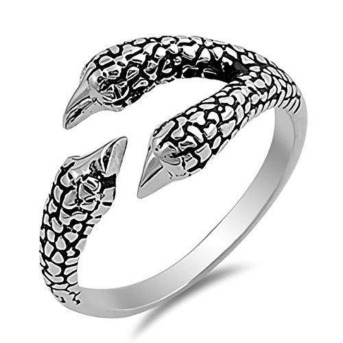 - Solid Wraparound Eagle Claw Sterling Silver Open Ring Size 5