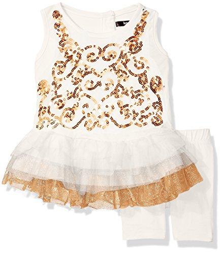 (kensie Baby Girls' Sparkle Swirl Ruffle Top and Legging Set, Vanilla, 18M)