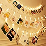 QTMY 20 LED Photo Clips String Lights for Hanging Photos Pictures Cards and Memos Christmas Home Decor (White)