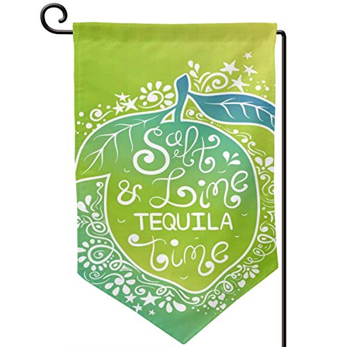lsrIYzy Garden Flag,Green Tones Vibrant Ombre Design Salt Lime and Tequila Lettering On Flourish Lemon,12.5x18.5 inch
