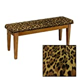 Shaker Design - Oak Dining Bench with a Padded Seat Cushion Featuring Your Choice of an Animal Print Fabric Covered Seat Cushion (Leopard Large Cotton)