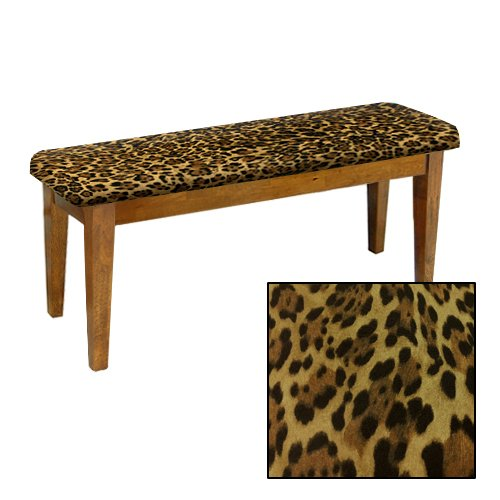 Shaker Design - Oak Dining Bench with a Padded Seat Cushion Featuring Your Choice of an Animal Print Fabric Covered Seat Cushion (Leopard Large Cotton) by The Furniture Cove