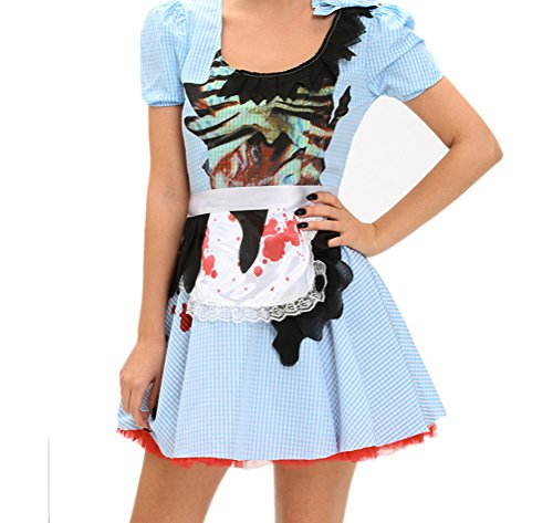 [YeeATZ Women's Zombie Kansas Girl Adult Halloween Costume(Size,M)] (Half Doll Half Zombie Costume)