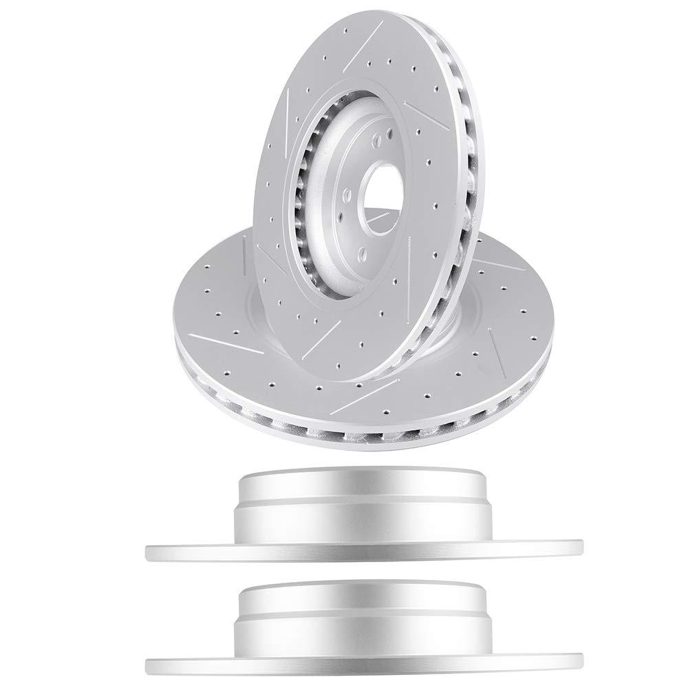 CHEAP AUTOMUTO Brake Rotors Kit with 4pcs Drilled Slotted Discs Brake  Rotors fit for Mercedes-Benz C230 C320,Benz CLK350,Benz SLK280 SLK300  SLK350 -