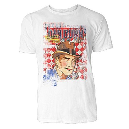 SINUS ART® Dan Dunn Herren T-Shirts stilvolles weißes Fun Shirt mit tollen Aufdruck
