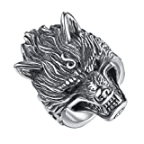 LineAve Men's Stainless Steel Wolf Biker Ring, Size 10, 8h5057s10
