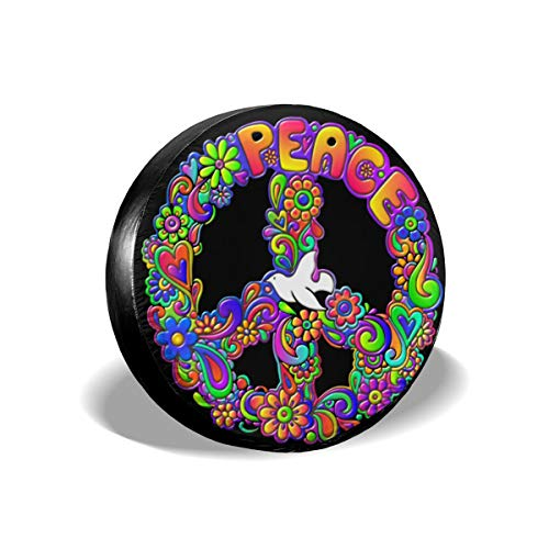 (Hippie Flower Power Peace Sign Cars Spare Tire Cover Auto Tire Cover Tire Size 14