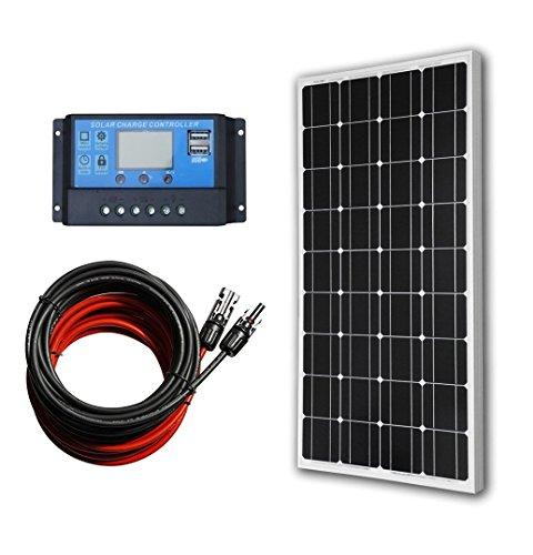 - ECO-WORTHY 12 Volt 100 Watt Monocrystalline Solar Panel Kit with 20A LCD Charge Controller