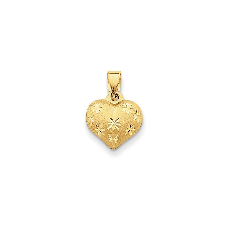 14k Gold Satin & Diamond Cut Puffed Heart Pendant (0.63 in x 0.43 in)