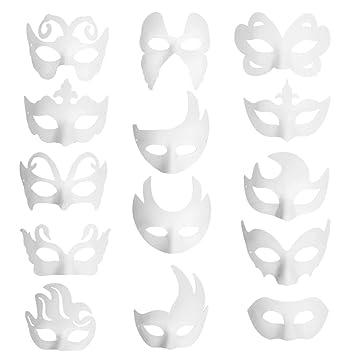 Funhoo 14 Pcs Leere Weiße Maske Papier Maskerade Halbmaske Für Diy Bemalen Basteln Zeichnen Party Mitgebsel Halloween Kostüm Accessoires