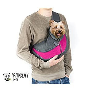 Cuddlissimo! Pet Sling Carrier - Small Dog Cat Sling Pet Carrier Bag Safe Reversible Comfortable Adjustable Pouch Single Shoulder Carry Tote Handbag for Pets Below 6lb 82