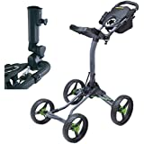 Bag Boy Quad XL 4-Wheel Golf Push Cart with Free Bag Boy adjustable Umbrella Holder($30 Value)