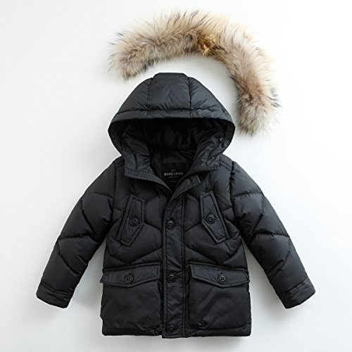 marc janie Baby Boys Kids' Lightweight Down Jacket With Raccoon Fur Collar Hood Puffer Winter Coat Black 4T by marc janie (Image #2)