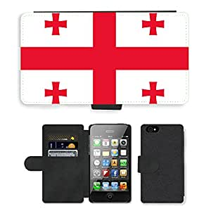 GoGoMobile Flip PU Leather Wallet Case with Credit Card Slots // V00001064 georgia National Country Flag // Apple iPhone 4 4S 4G
