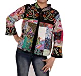 Womens Jacket Embroidered Patch Work Pure Cotton Kantha Coat Multi
