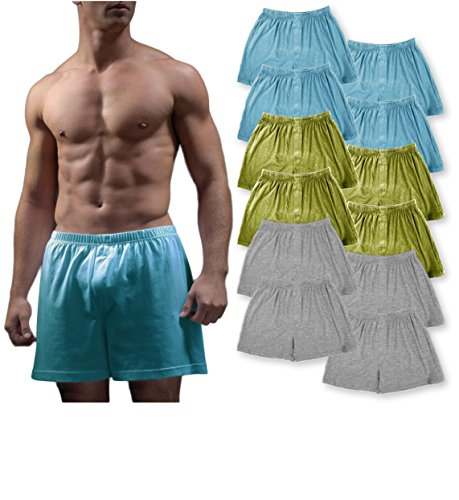 Andrew Scott Men's 12 Pack King Size Big Man Cotton Knit Sleep Boxer Shorts (12 Pack - Heather/Olive/Teal, Large) (Knit Basic Boxer)