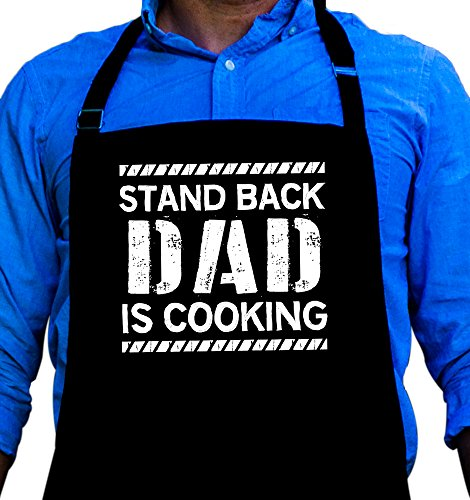 Dad Apron (BBQ Grill Apron - Stand Back Dad is Cooking - Funny Apron For Dad - 1 Size Fits All Chef Apron High Quality Poly/Cotton 4 Utility Pockets, Adjustable Neck and Extra Long Waist Ties)