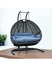DISENO Double Patio Swing Chair Outdoor Patio Lounge Chair, with All-Steel Support Stand & Base, Complete Set, Including One UV Rated & Waterproof Nylon Fabric Cushion Double Seat - 4 Available Colours