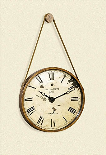 Bassett Mirror Company Antique Style Hanging Metal Clock with Faux Leather