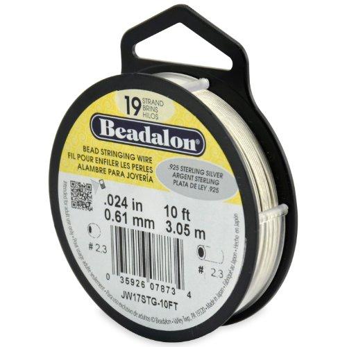 Beadalon Stringing Wire 19-Strand .024-Inch (.61-Millimeter) Diameter 10-Feet/Pkg.925 Sterling Silver