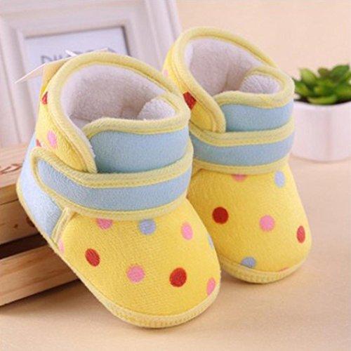 JIANGFU Dot Baby Schneeschuhe Kleinkindschuhe,Kleinkind Neugeborene Baby Dot Print Stiefel Soft Sole Schnee Prewalker Warm Schuhe (12, YE)