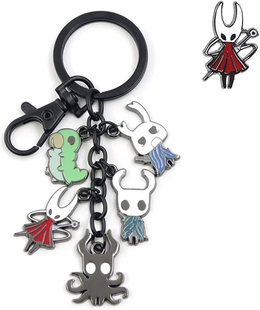 Hollow Knight Alloy Metal Characters Keychain Pendant Including 1 Optional Hollow Knight Character Pin