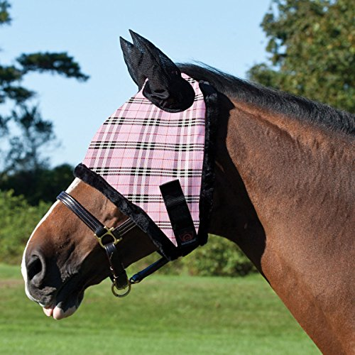Buy cheap kensington kpp fly mask with fleece trim ears deluxe black plaid large