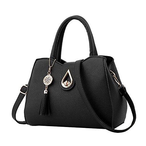 SHUhua - Bolso mochila  de Piel para mujer negro