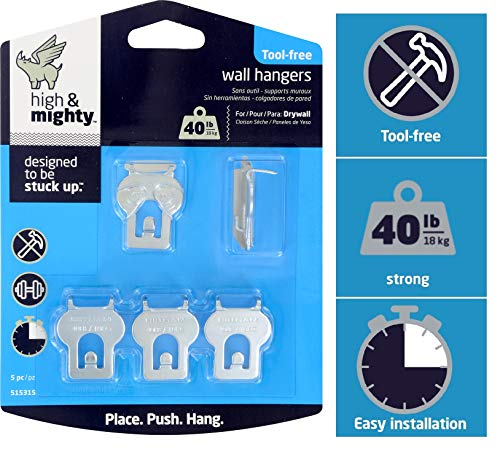 Limit Kit - High & Mighty 515315 Tool Free Picture Hanging Kit 40 lb Limit 5 Pieces, Silver