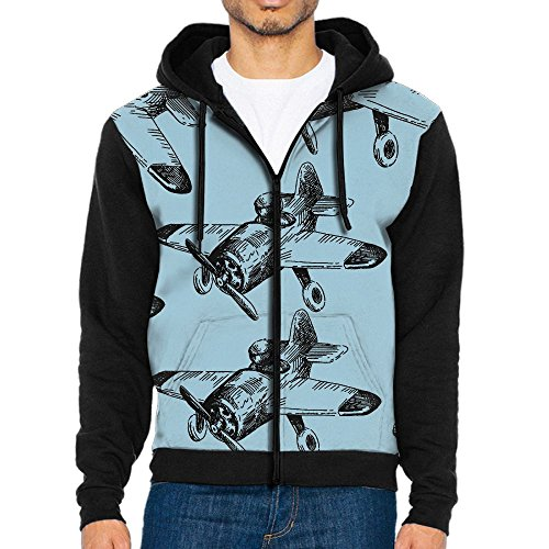 E8F1 Hoodies Airplane Men Drawstring Hoodies Zip Up Pullover Jacket With Pockets (Airplane Jacket Yellow)