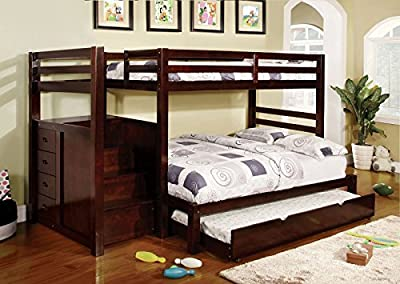 1PerfectChoice Pine Ridge Twin Full Bunk Bed + Twin Trundle Built in Storage Staircase Stairway