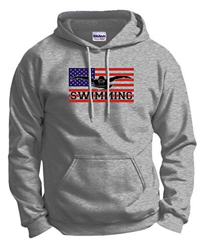 American Flag American Pride Swimming Swim Hoodie Sweatshirt Medium - Mens Apparel American Swim