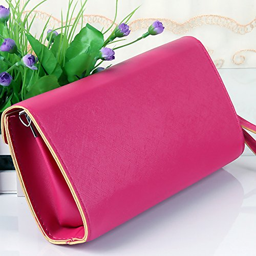 Clutch strap Sky Leather Women Wallet Sweet with Girls Blue Crossbody I0qP4Bwpx