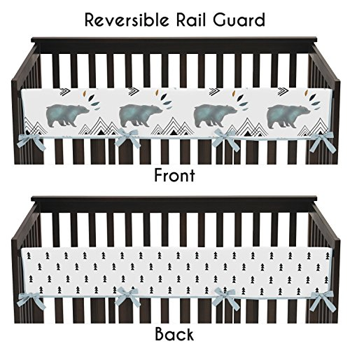 Sweet Jojo Designs Long Front Crib Rail Guard Baby Teething Cover Protector Wrap for Bear Mountain Watercolor Collection by by Sweet Jojo Designs