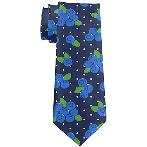 Fruit Blueberry Blueberries Repeat Pattern All Over Neck Tie Navy Standard One Size ()