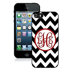 Iphone 5s Black TPU Case Personalized Black Chevron Red Monogra Iphone 5 Durable Soft Rubber Cover
