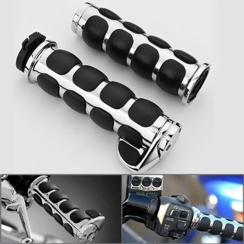 2x Chrome Billet Aluminum Bar End Cap Black Soft Gel Rubber Hand Grips w/ Palm Rest Fits Custom Motorcylce 7/8