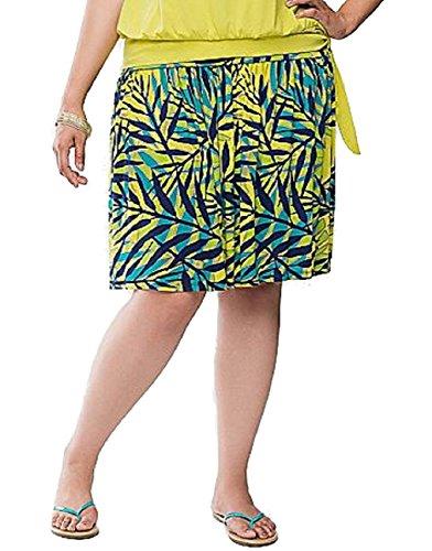 Lane Bryant Tropical Palm Print Flippy Kinit Skirt, Womens Plus Size (22/24)