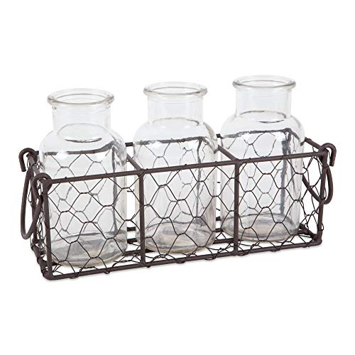DII Z02305 Farmhouse Vintage Chicken Wire Flatware Caddy with Clear Glass Vases, Rustic Bronze (Rustic Vases)
