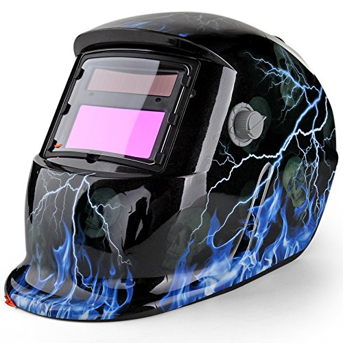 Flexzion Welding Helmet Auto Darkening Mask Hood (Thunder Skull), Solar Powered Shield Equipment with Weld & Grind Modes Manual Adjustable Shade Range 9-13 for Arc Gas Tig Mig Mma Grinding Plasma Cut