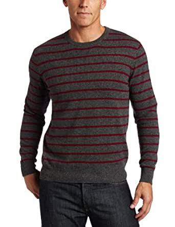 Williams Cashmere Men's 100% Cashmere   Long Sleeve Crew Neck Stripe Sweater, Burgundy Combo, Small