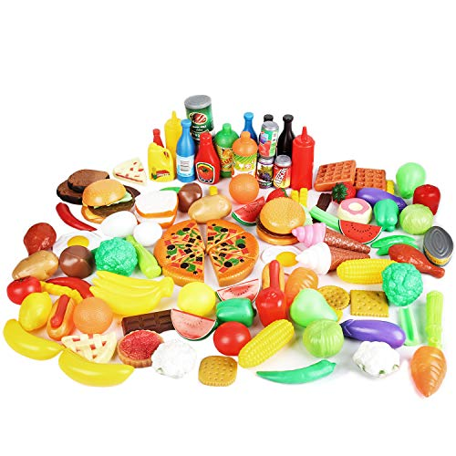 - CatchStar Play Food Variety Pretend Food Durable Toy Food Set for Kids Toddler Play Kitchen Outdoor Picnic Foods Accessories Plastic Vegetable Toys Playset Portable Mesh Bag 120 Piece