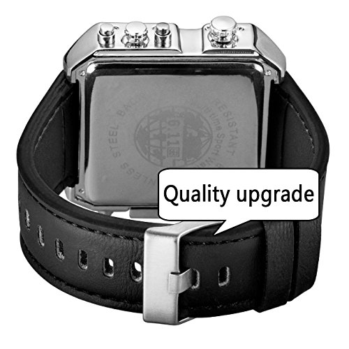 Top Plaza Men's Black Square Digital Electronic Genuine Leather Band 3ATM Waterproof LCD Sport Watch Casual Business Quartz Military Multifunction Back Light by Top Plaza (Image #4)